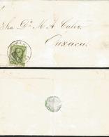 J) 1859 MEXICO, 2 REALES GREEN, CIRCULAR CANCELLATION, CIRCULATED COVER, FROM VERACRUZ TO OAXACA - Mexico