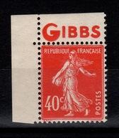 Publicite - YV 194 N** Semeuse Avec Publicite GIBBS Bandelette Nord - Publicidad