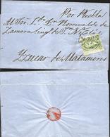 J) 1859 MEXICO, 2 REALES GREEN, CIRCULAR CANCELLATION, CIRCULATED COVER, FROM MEXICO TO MATAMOROS - Mexico