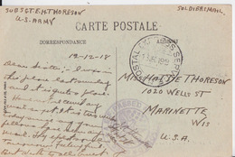 US ARMY POSTMARK SOLDIERS MAIL 1918 POSTAL EXPRESS SERVICE AEF PASSED CENSORED CENSOR WW1 THORESON MARINETTE WISCONSIN - Marcophilie (Lettres)
