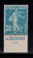 Publicite - YV 192 N** Semeuse Avec Publicite LE SECOURS VIE Bandelette Sud - Publicidad