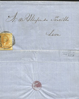 J) 1858 MEXICO, UN REAL YELLOW, CIRCULAR CANCELLATION, CIRCULATED COVER, FROM GUANAJUATO TO LEON - Mexico