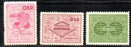 APR2563 - FORMOSA TAIWAN 1962 , Yvert N. 416/418  Senza Gomma (2380A)  Unesco - 1945-... República De China