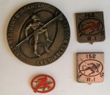 152° Régiment D'Infanterie LES DIABLES ROUGES -  Médaille, Ecus, Insigne. - Militari