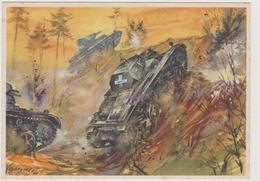 Panzerkampfwagen Im Angriff ,  II°WW,  Illustrata Da Gutschke Nel 1940   - F.G - Weltkrieg 1939-45