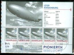 RARE * NEDERLAND 2015 * ZEPPELIN * HINDENBURG * AVIATION * BLOCK * VLIEGTUIG * POSTFRIS GESTEMPELD 5 X INT. (BLOK 253) - Periode 2013-... (Willem-Alexander)