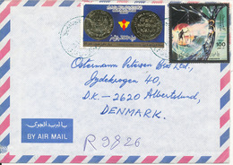 Libya Registered Air Mail Cover Sent To Denmark 27-8-1986 Also Stamps On The Backside Of The Cover - Libya