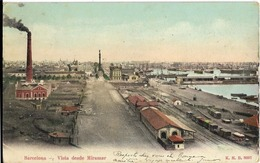 ESPAGNE - BARCELONA - VISTA DESDE  MIRAMAR - Train-Wagons-Usine-Lignes De Chemin De Fer-Carte Colorisée-PRECURSEUR - Barcelona