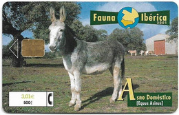 Spain - Telefonica - Fauna Iberica - Asno Domestico Donkey - P-466 - 04.2001, 8.000ex, Used - España