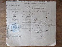 EMISSION DE LILLE 20 C BLEU JUSTICE DEBOUT AVEC AIGLE IMPERIAL SUR QUITTANCE DES DROITS DE SUCCESSION DU 27 JUIN 1871 - Fiscaux