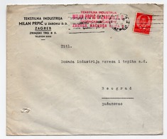 1937 YUGOSLAVIA, CROATIA, ZAGREB TO BELGRADE, MILAN PRPIC TEXTILE INDUSTRY - 1931-1941 Kingdom Of Yugoslavia