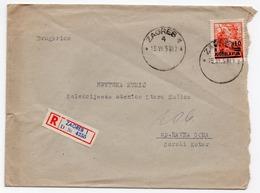 1950 YUGOSLAVIA, CROATIA, ZAGREB TO RAVNA GORA, GORSKI KOTAR, REGISTERED MAIL - Covers & Documents