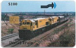 Zimbabwe - PTC - Diesel Train, 100Z$, Chip Gem Black, Exp. 12.2000, 100.000ex, Used - Simbabwe