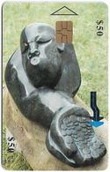 Zimbabwe - PTC - Sculpture 1 - 50Z$, Chip Gem Red, Exp. 12.2001, Used - Simbabwe