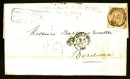 LETTRE ANCIENNE BELGIQUE- TIMBRE 3 Ct  N°33a BISTRE ORANGE- OBLIT. CERCLE BRUXELLES 1874 + CAD AMBULANT + PD- - 1869-1883 Leopoldo II