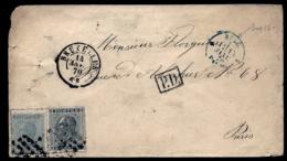 LETTRE ANCIENNE BELGIQUE- 2 TIMBRE N° 17 + 18- LOSANGE GROS POINTS- CAD BRUXELLES 1870 + CAD ENTRÉE BLEU + PD- 2 SCANS - 1869-1883 Leopoldo II