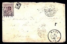 LETTRE ANCIENNE BELGIQUE- TIMBRE N° 19- LOSANGE CHIFFRE 251- CAD MONS 1869 + AMB. QUIEVRAIN- + TAMPON PD- 2 SCANS - 1869-1883 Leopold II.