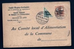 CARTE BELGIQUE- COMITÉ HISPANO-NÉERLANDAIS POUR LE RAVITAILLEMENT- 2 TIMBRES D'OCCUPATION DONT UN 1/2- 1918- 3 SCANS - Unclassified