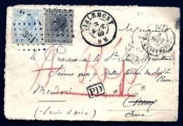 DEVANT DE LETTRE BELGIQUE- 2 TIMBRES N° 17 + 18- LOSANGE N°361- CAD TIRLEMONT 1869 + QUIEVRAIN + PD- - 1869-1883 Léopold II