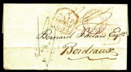 LETTRE PRÉPHILATÉLIQUE ANGLETERRE POUR BORDEAUX 1835- TAXES A LA PLUME  BLEUE- DIVERS TAMPONS ROUGES A ÉTUDIER-  2 SCANS - Gran Bretagna
