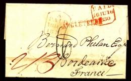 LETTRE PRÉPHILATÉLIQUE ANGLETERRE- BORDEAUX 1830- TAXE A LA PLUME  BLEUE 16 D- TAMPONS PAID ET CURSIVE  ROUGES-  2 SCANS - Gran Bretagna