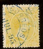 España Edifil 229 (º)  15 Céntimos Amarillo Alfonso XIII El Pelón  1895  NL1591 - Used Stamps