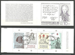Sweden 1984 STOCKHOLMIA '86, Stockholm (II): Letters., Mi 1288-1291, In Booklet MH 100, Cancelled(o) - Gebruikt