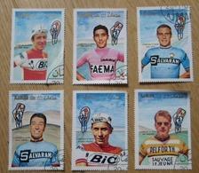 Suite De 6 Timbres AMAN Coureurs Cyclistes Eddy Merckx Jacques Anquetil Rudy Altig Jan Janssen Felice Gimondi J. Jimenez - Cyclisme