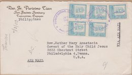 ENVELOPPE TIMBRE PAR AVION   1953  TUGUEGARAO CARAYAN VOIR TIMBRES ET CACHETS - Philippinen
