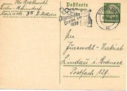 Olympiade De Berlin, Flamme Sur Entier Postal 1936 - Summer 1936: Berlin