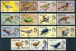 """1965-67 Mauritius VF Used Complete Fantastic """"Bird Set' Of 15 Stamps Incl. The High Values Yt.266-80 Cat.Euro 55 - Mauritius (1968-...)"""