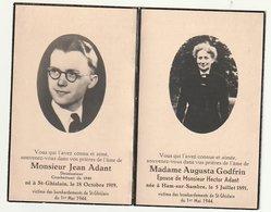 Décès Jean ADANT Combattant 1940 Et Sa Maman Augusta GODFRIN Ham-sur-Sambre Victime Bombardements St-Ghislain 1944 - Images Religieuses