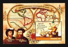 Uruguay 500 Ann. Magellan Elcano World Map Globe Cartography Ship Vessel Navigators MNH S/s Barcos Mapas Magallanes - Geografía