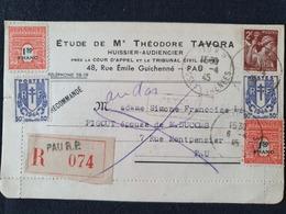 PAU RP Recommandé - 6 Avril 1945 - Basses Pyrénées - Iris Chaines Arc De Triomphe - Marcophilie (Lettres)
