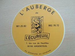 AUTOCOLLANT L'AUBERGE L'ECUREUIL 95100 ARGENTEUIL - Autocollants
