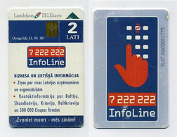 Carte à Puce Téléphonique. 2 Lati. Lettonie Latvia Lettland. Lattelekom. Telekarte. InfoLine 7 222 222 - Letland