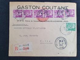 VILLENEUVE LA GARENNE - 10 Février 1949 - Recommandé - Seine - Gandon YT 809 811 - Marcophilie (Lettres)