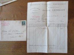 ANGOULÊME JEANNE GEORGET TROUSSEAUX LAYETTE AMEUBLEMENT 22 REMPART DESAIX FACTURE ET ENVELOPPE DU 21AVRIL 1926 - France