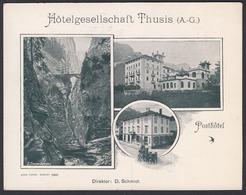 Suisse,  THUSIS, Hotelgesellschaft, Posthotel -  Carton Publicitaire De L'hôtel - 135 Mm X 105 Mm - GR Grisons