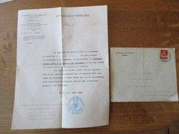 CONSULAT DE FRANCE A BERNE COURRIER ET ENVELOPPE DU 5 MARS 1928 - Suisse