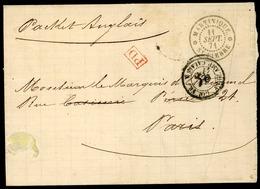 """1871 Lettre De La Martinique Pour La France Puis Expédiée En Suisse. C-à-d """"MARTINIQUE * ST PIERRE*11/9/71"""" + """"PD"""" Rouge - Martinica (1886-1947)"""