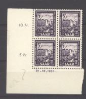 07129  -  Sarre  :  Mi  276 Br  **  Coin Daté 31-10-1951 - Neufs
