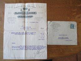 PARIS J. LE CAMUS MAISON LE ROUX MANUFACTURE D'ORNEMENTS D'EGLISE 94 RUE DE RENNES FACTURE ET ENVELOPPE DU 18 NOV. 1925 - France