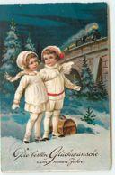 N°13223 - Die Besten Glëckwünsche Zum Neuen Jahre - Enfants Regardant Un Train - Nieuwjaar