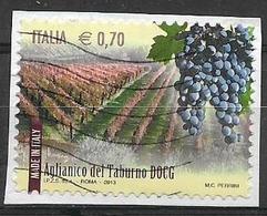 ITALIA  2013 IL MADE IN ITALY VINI DOCG SASS. 3417 USATO VF SU FRAMMENTO - 2011-...: Usati