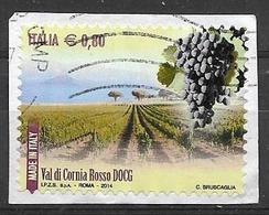 ITALIA  2013 IL MADE IN ITALY VINI DOCG SASS. 3421 USATO VF SU FRAMMENTO - 2011-...: Usati