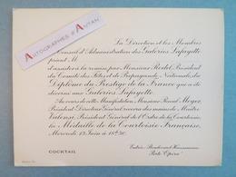 GALERIES LAFAYETTE Vieux Carton D'invitation Diplôme Du Prestige - Rodel Valensi Meyer - Documents Historiques
