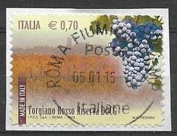 ITALIA  2013 IL MADE IN ITALY VINI DOCG SASS. 3429 USATO VF SU FRAMMENTO - 2011-...: Usati