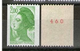 "N° 2487c**-Gomme Brillante Jaunâtre-N° Rouge-phospho En ""i"" - Roulettes"