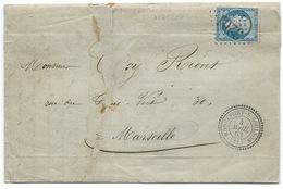 N° 22 BLEU NAPOLEON SUR LETTRE / CAD T22 ROQUEFORT SUR SOULSON AVEYRON POUR MARSEILLE 1863 / GC 3201 INDICE 6 - Storia Postale